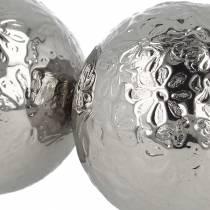 Flytande kula blommor silvermetall Ø5,5cm diverse 6st