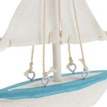 Segelbåt 10 cm x 14 cm vitblå