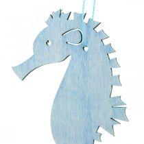 Sjöhäst för att hänga blå, vit hängare maritim dekor 8st
