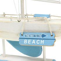 Dekorativ segelbåt gjord av träblå, vit H41,5cm