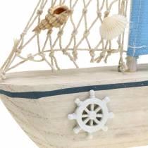 Dekorativ segelbåt träblå vit naturlig 20x4cm H30cm