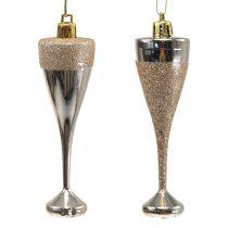 Champagneglas för att hänga ljusguld 10 cm 8st