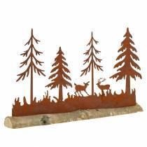 Skogsilhuett med djur i rostfritt stål på en träbas 30cm x 19cm