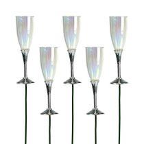 Nyårsafton dekorativ champagneglasplugg silver 7,5 cm L27cm 12st