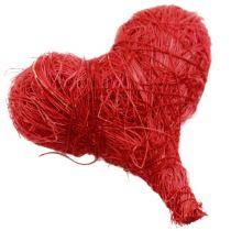 Sisal hjärtan 5cm röd / vit 12st