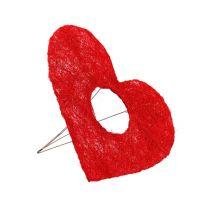 Sisal hjärtmanschett röd 15cm 10st.