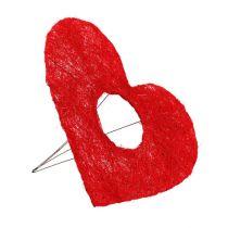 Sisal hjärt manschett 20cm rött hjärta sisal blomdekoration 10st