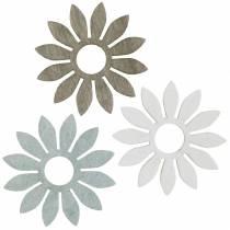 Sommarblommor trädekoration blommor brun, ljusgrå, vit streudeko 72st