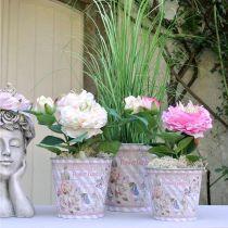 Sommardekoration blomkruka metall rosor planter Ø11,5cm H10,5cm