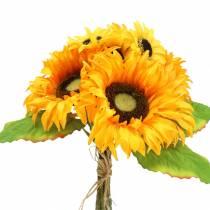 Dekorativ bukett solrosgrupp gul 30 cm