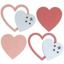 Spridda hjärtan rosa / vit 24st