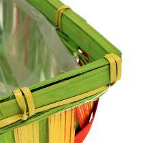 Spånkorgsats vinklad mångfärgad 12st 20 cm x 11 cm