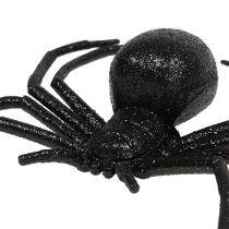 Svart spindel 16cm med glimmer