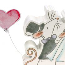 Deco figur muspar med hjärtan 11cm x 11cm 4st