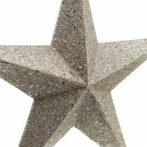Glitterstjärnor för att hänga champagne Ø21cm 3st
