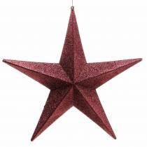 Glitterstjärna för att hänga vinröd Ø30cm