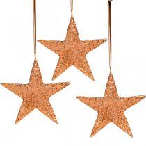Dekorativ stjärna att hänga, adventsdekoration, metallhängen kopparfärgade 12 × 13cm 3st