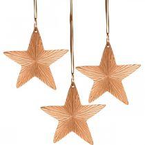 Stjärnhänge, juldekoration, metalldekoration kopparfärgad 9,5 × 9,5 cm 3st