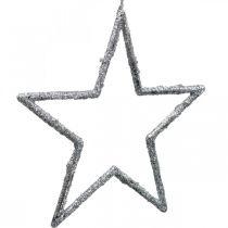 Stjärna att hänga, julgransdekorationer, dekorationsstjärna silver 11,5 × 12cm 12st