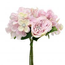 Bukett med rosa färg med pärlor 29cm