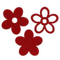 Spridd dekoration filtblomma röd sorterad i en blandning Ø4cm 72st