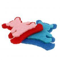 Spridd björn gjord av filt blandade färger 3,5 cm x 3,5 cm 100p