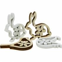 Strö dekoration kaniner, kycklingar och fåglar trä påsk dekoration för att strö 72st