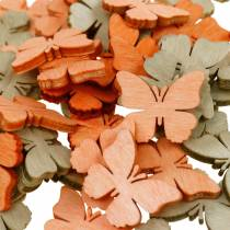 Streudeko fjäril träfjärilar sommardekoration orange, aprikos, brun 144p