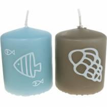 Pelarljus 60/50 Maritimt dekorljus Sommardekoration Mix Safe Candle 4st
