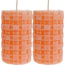 Rustika ljus, pelarljus korgmönster, orange vaxljus 110/65 2st