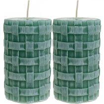 Ljus med flätat mönster, pelarljus Rustikt grönt, ljusdekoration 110/65 2st