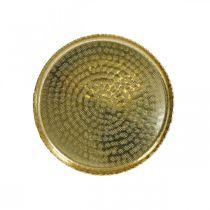 Orienteringsbricka, gyllene dekorplatta, metalldekoration Ø18,5 cm