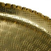 Rund metallbricka, gyllene dekorplatta, orientalisk dekor Ø30cm