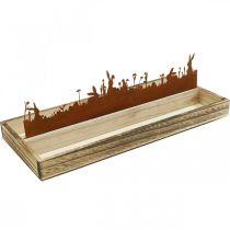 Dekorativ bricka påskäng, vårdekoration, träbricka med rostfritt stålrost 35 × 15cm