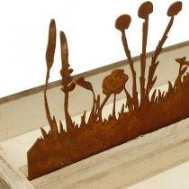 Träbricka våräng, påskdekoration, dekorativ bricka ädelrost 35 × 15cm