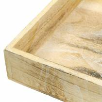 Träbricka fyrkantig vit tvättad 30 × 30 cm / 25 × 25 cm uppsättning av 2