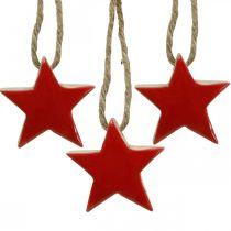 Trästjärna julgransdekorationer röda, naturliga dekorativa stjärnor 5cm 24st