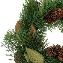 Grankrans med kottgrön Ø30cm