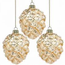 Kottar att hänga, trädekorationer, snötäckta dekorativa kottar Gyllene H9.5cm Ø8cm äkta glas 3st