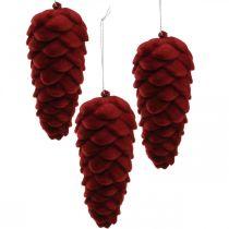 Höstkottar dekorationshängare, adventdekorationer, tallkottar flockade röda H13cm Ø6cm 6S