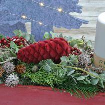 Höstkottar dekorationshängare, adventsdekorationer, tallkottar flockade röda H13cm Ø6cm 6S
