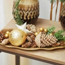 Tallkottar guld, glitter 13cm 4st julgransdekorationer