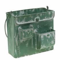 Planterväska med handtag metallgrön, vittvättad H20cm