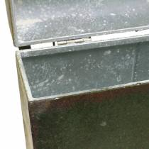 Planterväska med lock och läderrem metallgrå, brun / rost H28,5cm