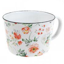 Emaljväxtkopp, dekorativ kopp med rosadekor, planteringsplatta Ø10cm H7cm