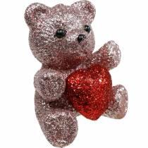 Dekorativ plug björn med hjärta, Alla hjärtans dag, blomplugg glitter 9st