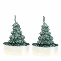 Tealight julgran grön Ø4cm 6st