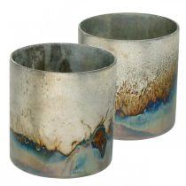 Värmeljusglas, ljushållare, glaslykta antikt utseende Ø10cm H10,5cm 2st