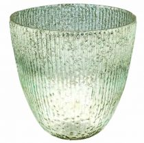Ljusglas lykta blågrönt bordsdekorationsglas Ø21cm H21.5cm