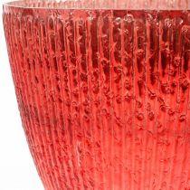 Ljusglas lykta rött glas deco vas Ø21cm H21.5cm